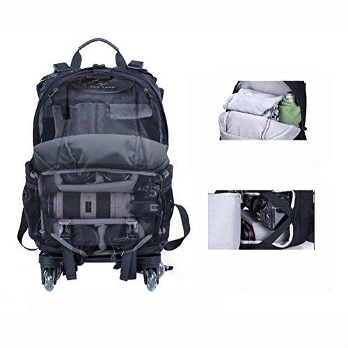 Multifunktion Kamera / Laptop Rucksack /backpack 4-Rad-Riemenscheibe 360 ° drehung red