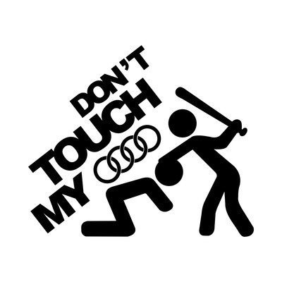 L.I. Firenze Don't Touch My Audi Sticker Decal Auto Adesivo prespaziato Senza Fondo in Vinile Colore Nero Lucido, 20 Centimetri.