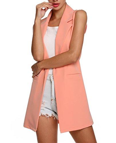 Meaneor nuovo da donna increspatura gilet senza maniche blazer lungo cardigan giacca