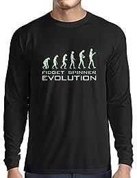 lepni.me Camiseta de Manga Larga para Hombre La Evolución - Fidget Spinner