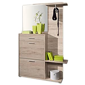 garderobe garderoben set schuhschrank flurgarderobe mit spiegel san remo hell 119 x 196 x 27. Black Bedroom Furniture Sets. Home Design Ideas