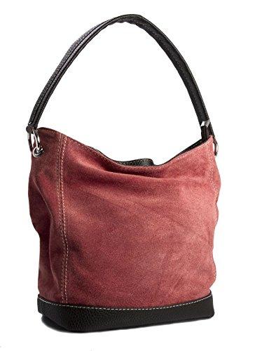 Big Handbag Shop - borsa con manico in vera pelle scamosciata italiana, con finiture in similpelle Deep Coral (Gu585)