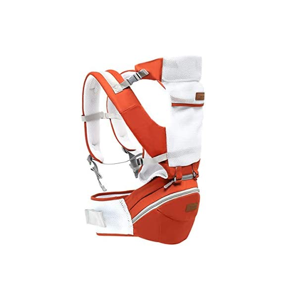 SONARIN 3 in 1 Multifunction Hipseat Baby Carrier,Ergonomic,Mummy Bag,100% Cotton,Breathable mesh Backing,Adapted to Your Child's Growing,Cozy & Soothing for Babies,Ideal Gift(Orange) SONARIN Applicable age and Weight:0-36 months of baby, the maximum load: 36KG, and adjustable the waist size can be up to 45.3 inches (about 115cm). Material:designers carefully selected soft and delicate 100% cotton fabric. Resistant to wash, do not fade, External use of 3D breathable mesh,15mm soft cushion,to the baby comfortable and safe experience. 30mm sponge filled, effectively relieve mother's abdominal pressure. Description:patented design of the auxiliary spine micro-C structure and leg opening design, natural M-type sitting. Removable backplane, hold the baby back, perfect support horizontal hold.The baby carrier and the hipseat junction have a protective pad,intimate design, so that your baby more comfortable. 1