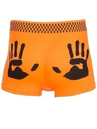 Love My Fashions Herren Skorpion Spinnennetz Fußball Dünn Gestreift Hand Aufdruck Boxer Shorts - Hand Aufdruck - Neon Orange, (Doe Kostüme)