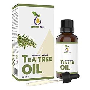 Natura Pur Bio Teebaumöl 50ml – 100% naturreines ätherisches Öl aus Australien, vegan – zur Anwendung auf unreiner Haut, Hautentzündungen, Anti Pickel, Akne sowie Warzen und Pilzen – Diffuser Öl