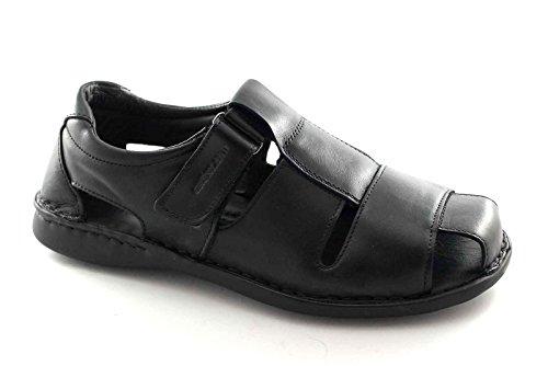 GRÜNLAND CLAP SA1354 schwarz Sandale Mann geschlossen Haut Spitze reißen Nero