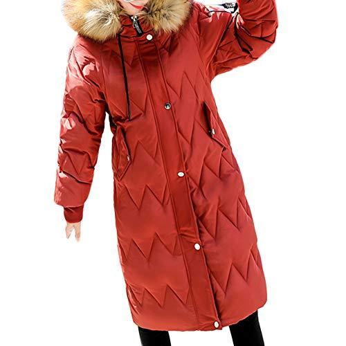 OverDose Damen Windjacke Langjacke Funktionsjacke Damen Winter Warm Mantel Kunstpelz Kapuze Dick Warm Schlank Outing Weiche Jacke Langer Mantel(X-Rot,EU-42/CN-M)