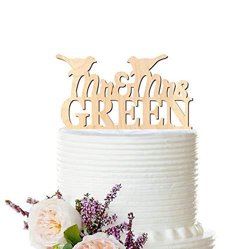 Andrea1Oliver Liebe V?Gel Hochzeit Holz Cake Topper personalisierte Holz Cake Topper Nachname Hochzeitstorte Topper Holz Hochzeit Peachwik Cake Topper -