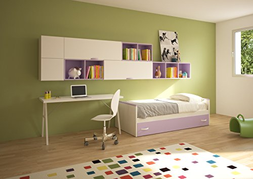 Giessegi penelope cameretta per ragazzi con letti e scrivania, legno, betulla/bianco/malva, singolo, 360 x 100 x 170 cm