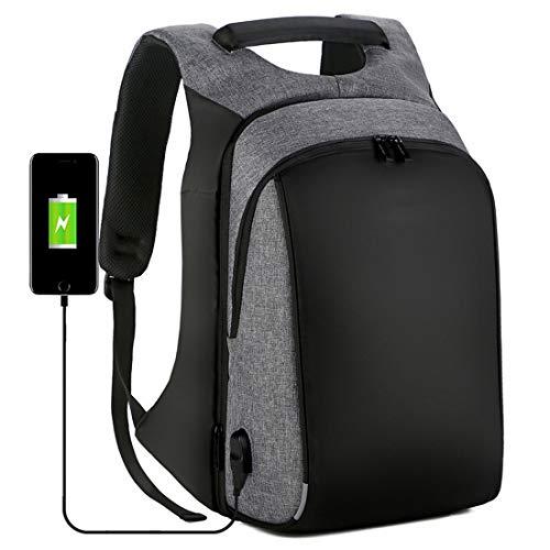 Chengduaijoer Outdoor-Reisen Laptop Rucksack Business Laptops Rucksack mit USB-Port und Reflektierende Streifen Wasserdicht College School Computer Tasche (Color : Grey, Size : 18 inch)