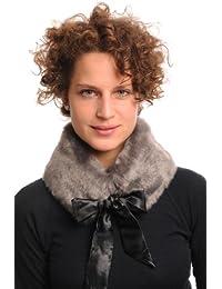 Grey Faux Fur Collar With Satin Bow Collar Scarf - Grey Embellished Designer Collar