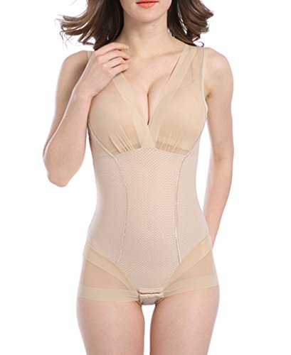 DODOING Damen Shapewear Body Shaping Bodysuit Miederslip Postnatal Erholung Bauch Weg Taillenformer Bodyshaper (Briefers Strapless Körper)
