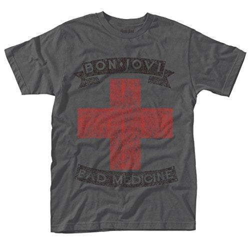 Grey Jon Bon Jovi Bad Medicine Rock offiziell Männer T-Shirt Herren (Small) -