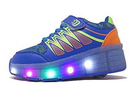 Chaussures à Roulettes, WINNEG Baskets Enfants USB Rechargeable Lumineuse avec Roue pour Garçons et Filles (31 EU, Bleu)