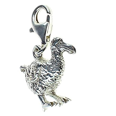 Sterling 925 Solid Silver Charm Pendant Dodo Bird Clip Fit or Rings. Handmade by Welded Bliss.