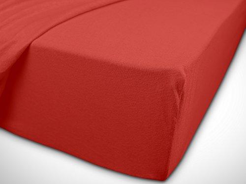 npluseins klassisches Jersey Spannbetttuch - erhältlich in 34 modernen Farben und 6 verschiedenen Größen - 100% Baumwolle, 90-100 x 200 cm, rot - 7