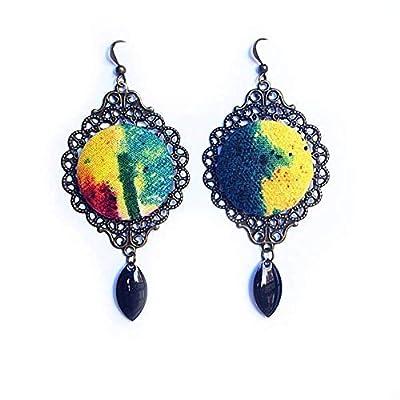 Boucles d'oreille hippie baba cool bijoux en tissu imprimé tie dye tye die tache d'encre aquarelle - seventies - cadeau adolescente étudiante artiste beaux arts - soirée 70