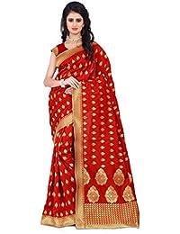 Clothfab Women's Banarasi Silk Jacquard Printed Design Party Wear Banarasi Silk Saree With Blouse Piece (Red-Colour)