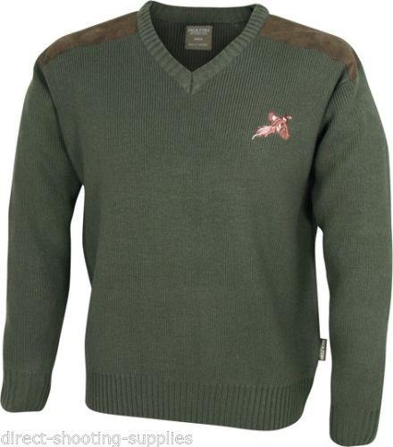 Jack Pyke - Maglione da caccia con scollo a V, motivo con fagiano ricamato e toppe sulle spalle, colore: Verde