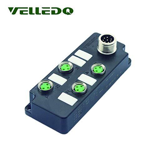 VelLEDQ - Adaptador enchufe macho 8 pines M12, 4 puertos