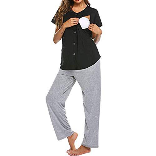 Lonshell Still- Pyjama Anzüge für Schwangerschaft 2 in 1 Umstandsschlafanzug Kurzarm Schlafanzugoberteile + Hose Mutterschafts Stillzeit Umstandsshirt Sommer Schlafanzüge - 2-schicht-anzug