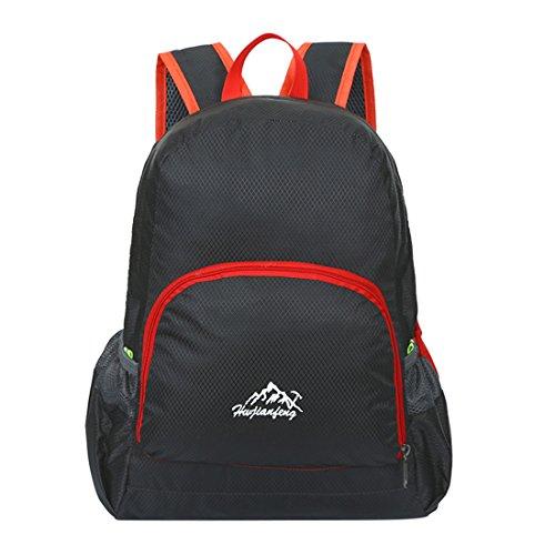 Zaino Leggero Pieghevole - Landove Zaini da Escursionismo Leggeri Impermeabile Trekking Scuola Borsa Sportiva da Viaggio per Bici Campeggio Outdoor Alpinismo nero