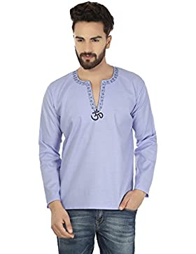 Maple Clothing Moda Camicia Ricamata Mens Breve Kurta Cotone India
