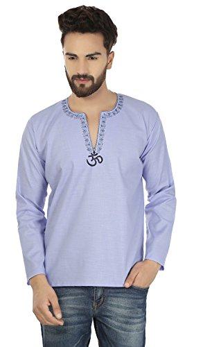 Indische Kleidung Mode Shirt Männer Stickte Kurz Kurta Cotton (Blau, XL) (Großen Kurta Blauen)