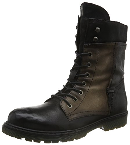 Mjus 553201-5770-3849 Damen Combat Boots Schwarz (nero+taupe+nero+nero)