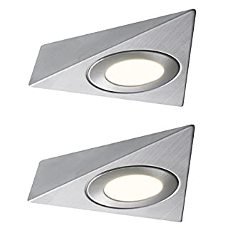 2 X LED TRIANGLE LIGHT MAINS KITCHEN UNDER UNIT CABINET CUPBOARD WARM WHITE