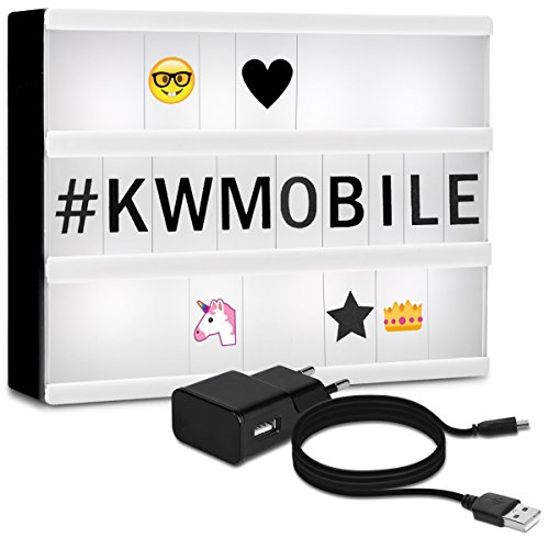 kwmobile caja de luz cinematográfica LED A4 - lightbox con 378 letras negras números + emoticones - fuente de alimentación - caja de iluminación