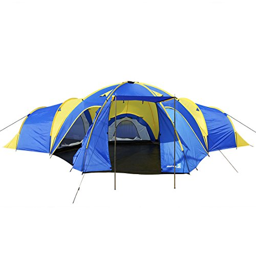 41Amj%2BeZTqL. SS500  - Peaktop 3 Bedrooms 1 Large Living Room 8 Persons Camping Tent Family Group Double Poles Hiking Beach Outdoor Tunnel Dome 3000mm Waterproof &UV Coated Bright Color 1 Year Warranty (5 Shapes)