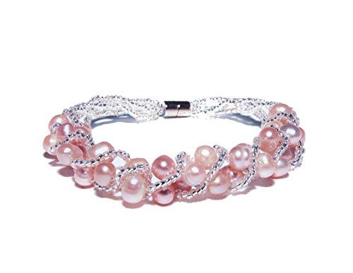 Enez Echt Süßwasser Zucht Perlenkette Armband Armkette 18cm Magnetverschluß R1292