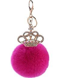 Llavero corona encanto mujeres bolso púrpura colgante coche llave llavero de piel de conejo peluche suave , 1