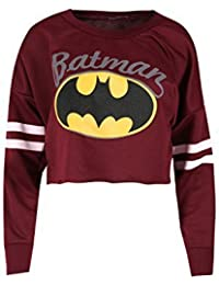 Ladies Batman Prints Baggy Oversized Stripes Full Sleeves Round Neck Crop Top Womens Sports Sweatshirt
