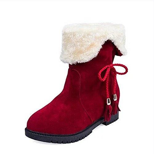 OSYARD Damen Schneestiefel Stiefeletten Flache Kurze Stiefel,Schnürstiefelett Wildleder Flandell, Frauen Winter Warme Baumwolle Shoes Mode Schuhe Quaste Lace-Up Boots Snow Booties(240/39, Rot)