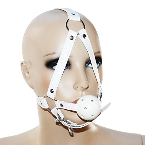 SEE-X Mundknebel 4,50cm, BDSM Bondage Kopfharness mit Gag-Ball Knebel, weiß, Erotik-Toy ModNr 7085