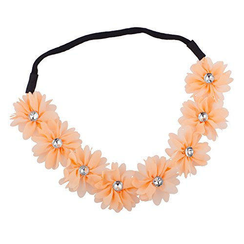Lux Accessories - Frieden Blumen Floral mit Strass-Detail Stretch-Haarb (Details Stirnband)