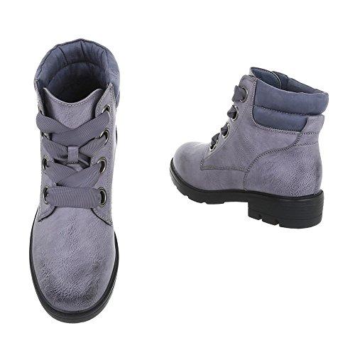 Scarpe da donna Stivali tacco a blocco Stivaletti con Laccio Ital-Design grigio blu