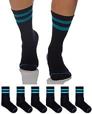 Sockyfy Socks for Men Minimalist Collection Dress Socks - Pack of 6 - Black Socks with Turquoise Stripes in Gi