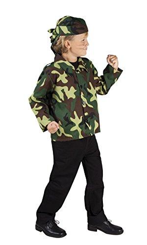 Karnevalsbud - Kinder Tarnjacke und Kopftuch Camouflage Set Kostüm, Grün, 122-134, 7-9 Jahre (Mädchen Sieben Meere Piraten Kostüme)