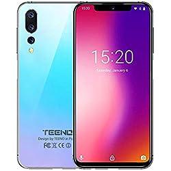"""TEENO Smartphone Portable Débloqué 4G 6.2"""" HD écran 3Go RAM 32Go ROM (Android - Double SIM - Une Caméra - Quad Core),Bleu"""