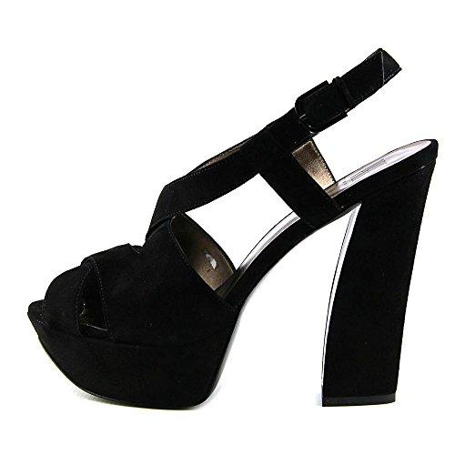 Pelle Moda Billow Femmes Daim Sandales Compensés Black