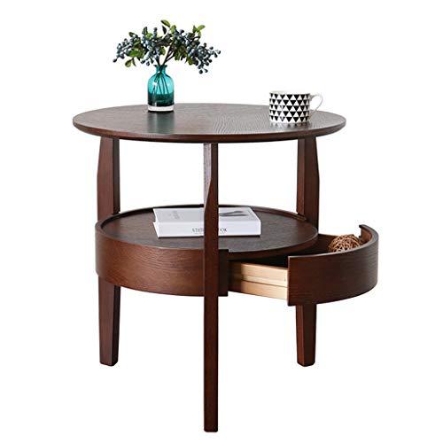 Tables basses en Bois Massif Petit Appartement Ronde canapé Moderne côté Armoire lit Petite Table Double Rangement, Production de chêne