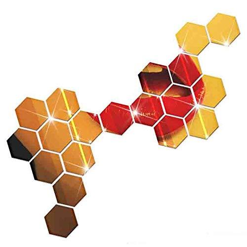 HAIMACX Aufkleber Dekoration Hexagon Spiegel Wandaufkleber 3D Acrylspiegel Dekorative Aufkleber Wasserdicht Hauptdekoration Wandbild