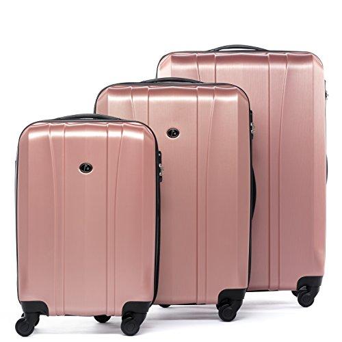 FERGÉ® Kofferset Hartschale 3-teilig Dijon Reise-Koffer Set leicht 3er Hartschalenkoffer Trolley Set (M L XL) 4 Rollen (360°) pink
