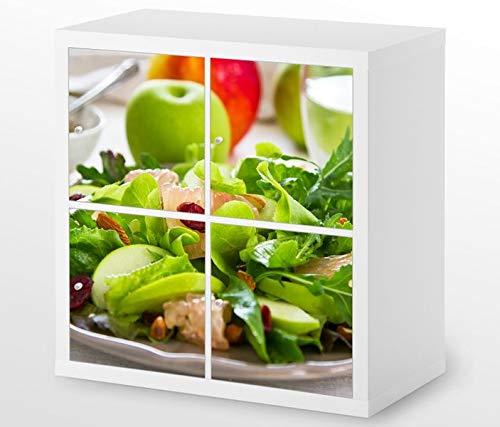 Set Möbelaufkleber für Ikea Kallax 4 Fächer/Schubladen grüner Salat Apfel gesund Diät Kat4 Küche Aufkleber Möbelfolie sticker (Ohne Möbel) Folie 25H341