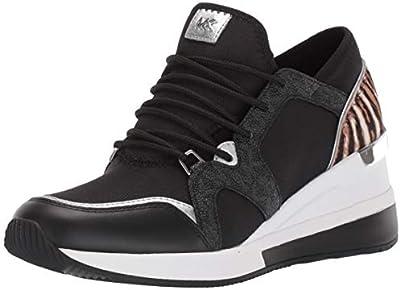 MICHAEL by Michael Kors Liv Logo Mixed Media Black and Safari Sneaker, Zapatilla Negras, Zapatilla de Cuero, Zapatillas de Mujer 38.5 EU Negro