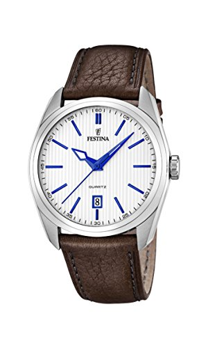 Festina Men's Quartz Watch with White Dial Analogue Display and Brown Leather Strap F16777/2