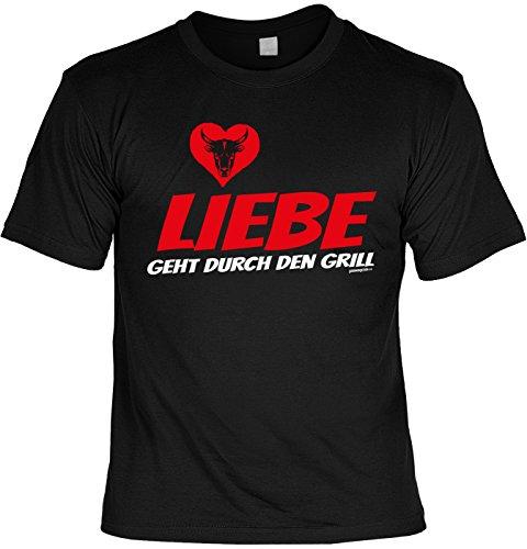 Grill T-Shirt Geschenkidee Grillen T-Shirt Liebe geht durch den Grill Grill Party Geschenk zur Grillsaison Schwarz